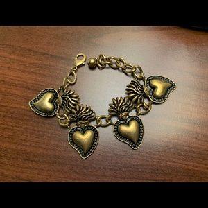 Antiqued gold toned heart bracelet